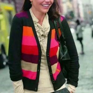 Cabi Color Block Argyle Fall Cardigan Sweater M